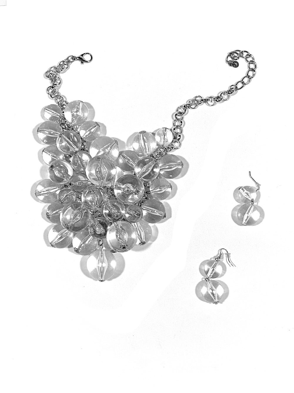 Transparent Pearl Chain + Earrings