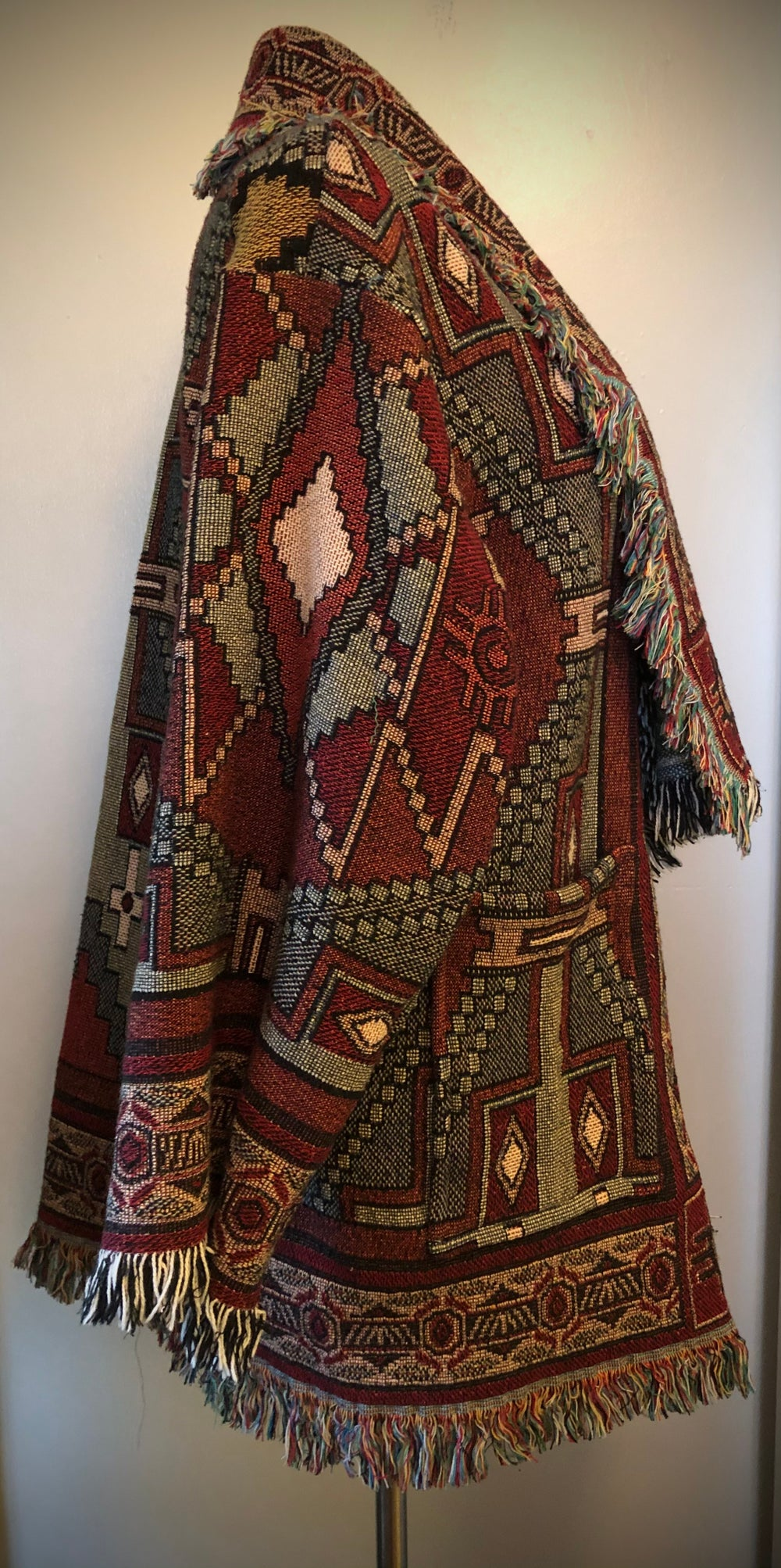 Thunderbird southwestern custom made fringe tapestry jacket