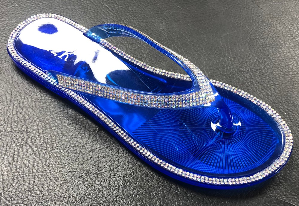 ROYAL BLUE BLING JELLY THONG SANDALS