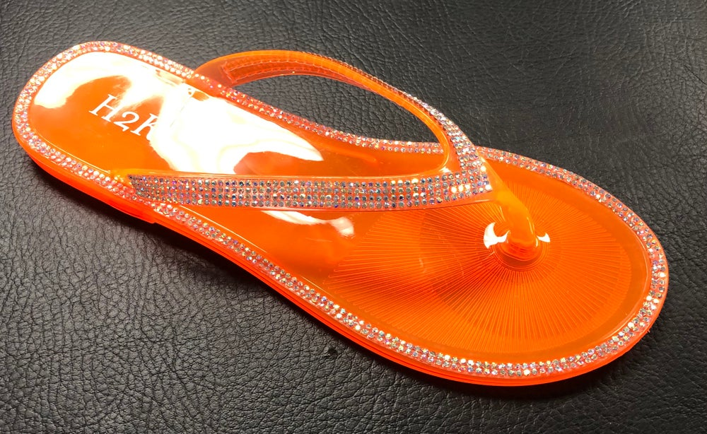 NEON ORANGE BLING JELLY THONG SANDALS