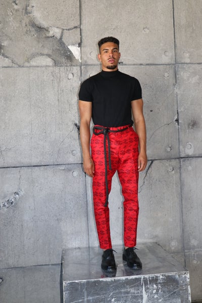 Image of The sikani tux pants- blkred tribal
