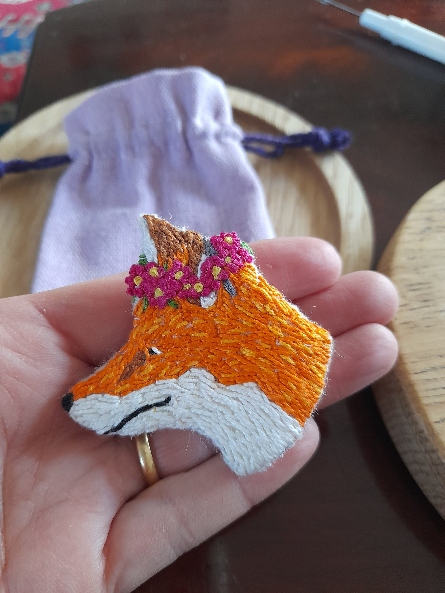 Image of Woodland Fox Hand Embroidered Brooch