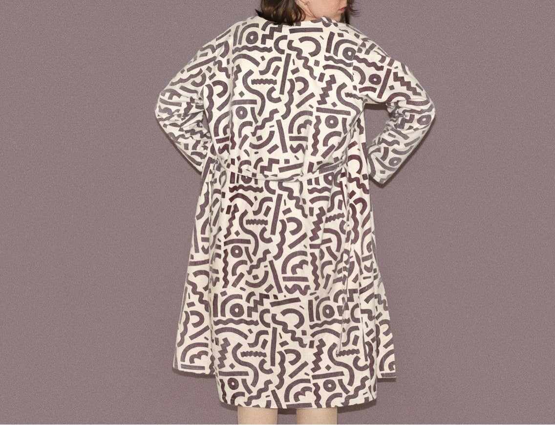 Image of DARK WINE LINES DRESS/ROBE