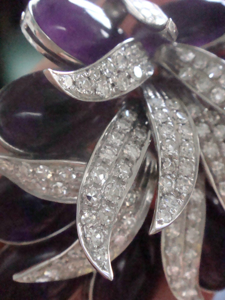 Image of Designer 1950s 18ct white gold huge natural cabochon amethyst 45ct and diamond 3ct spray brooch
