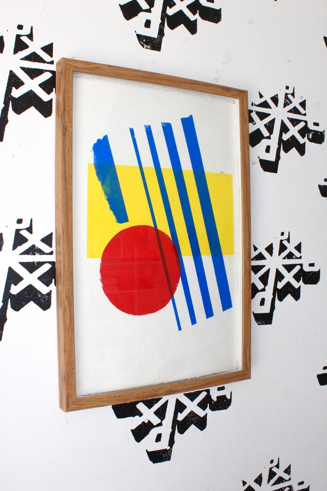 "Image of ""3 simple"" 16in x 25in framed silkscreen print"