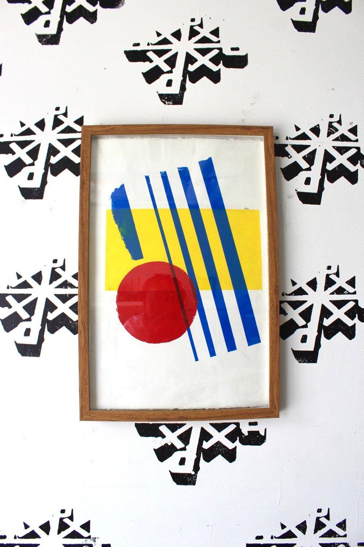 """3 simple"" 16in x 25in framed silkscreen print"