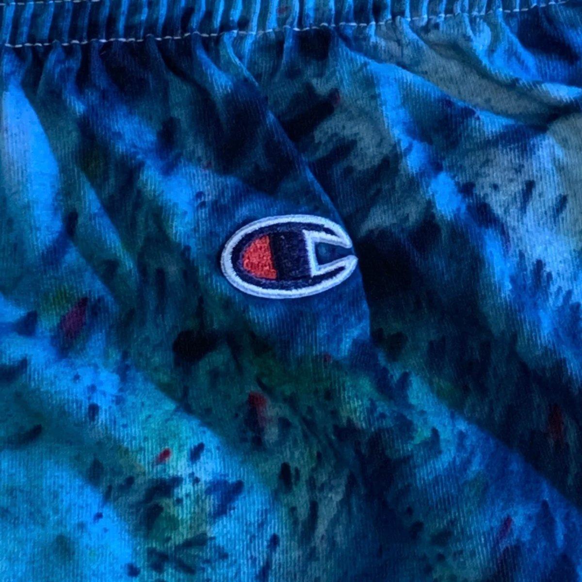 Custom Hand Dyed Champion Shorts! Blue!!