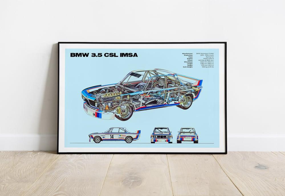 BMW 3.5 CSL IMSA - Classic Racing Sport Car Poster