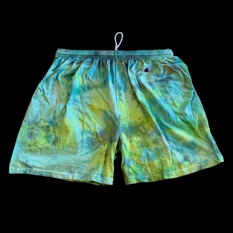 Custom Hand Dyed Champion Shorts! Restful Lazy Lime!