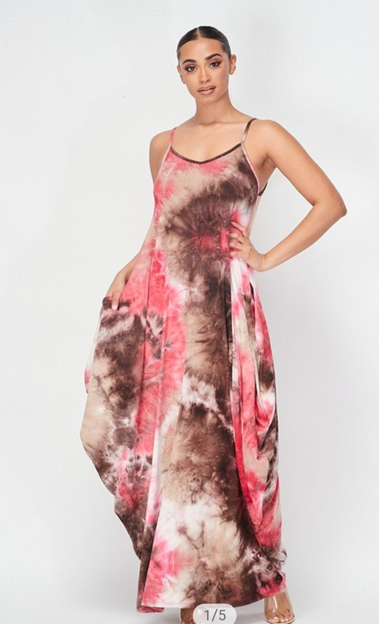 Image of Pink and Brown Tie Dye Maxi Dress