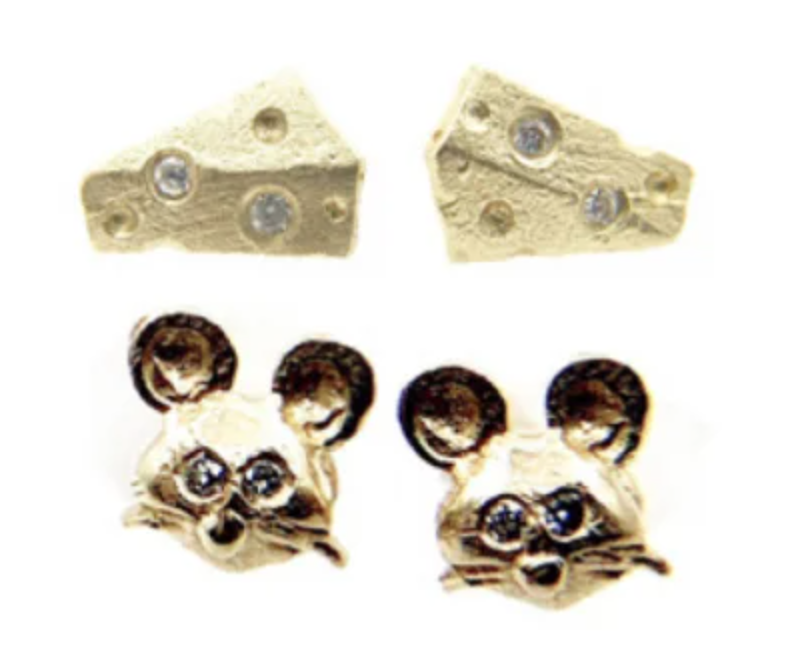 Image of 14 kt and Diamond Mice and Cheese Studs