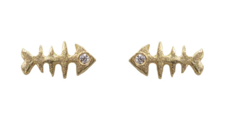 Image of 14 kt and Diamond Fish Bone Studs