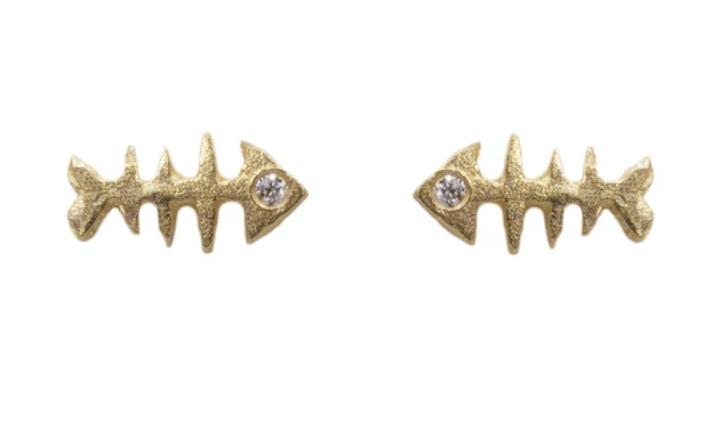 Image of 14 kt and Diamond Fish Bone Studs