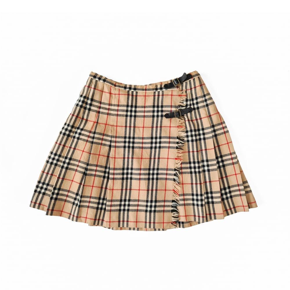 Image of Burberry Nova Check Pleated Kilt Skirt