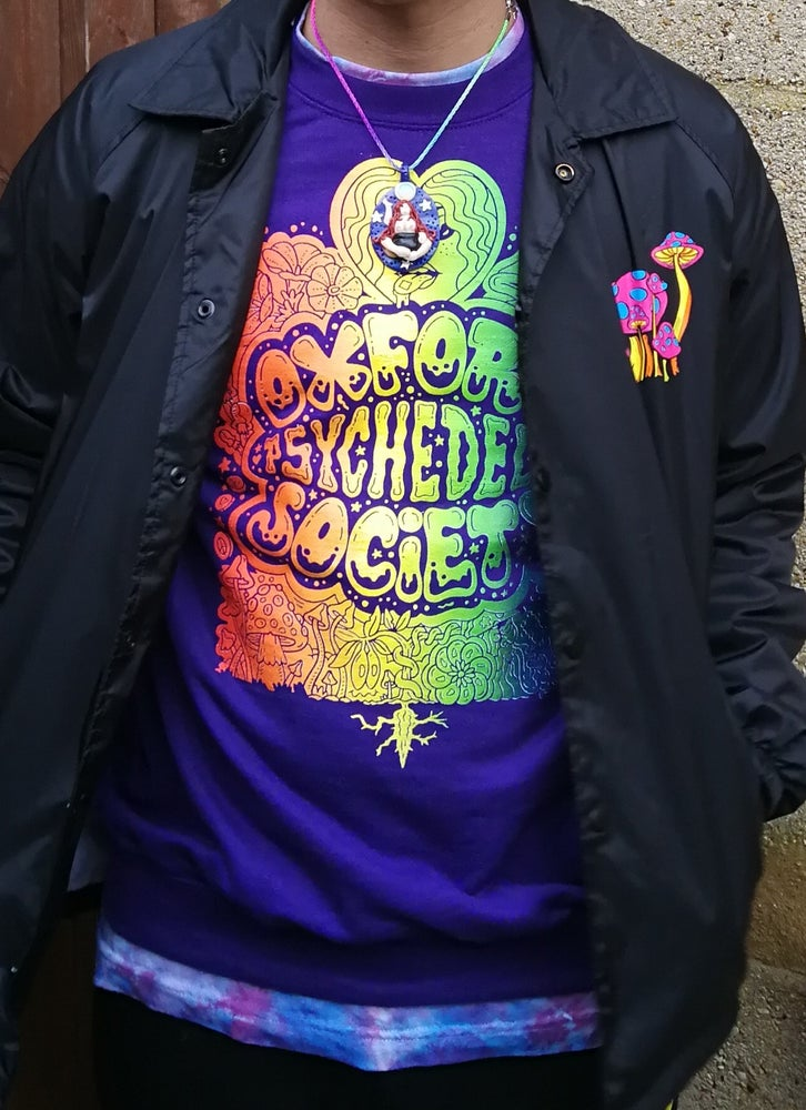 Image of Pre-order OPS 'committee' shirt for everybody (psychedelic/multicolour print on purple)