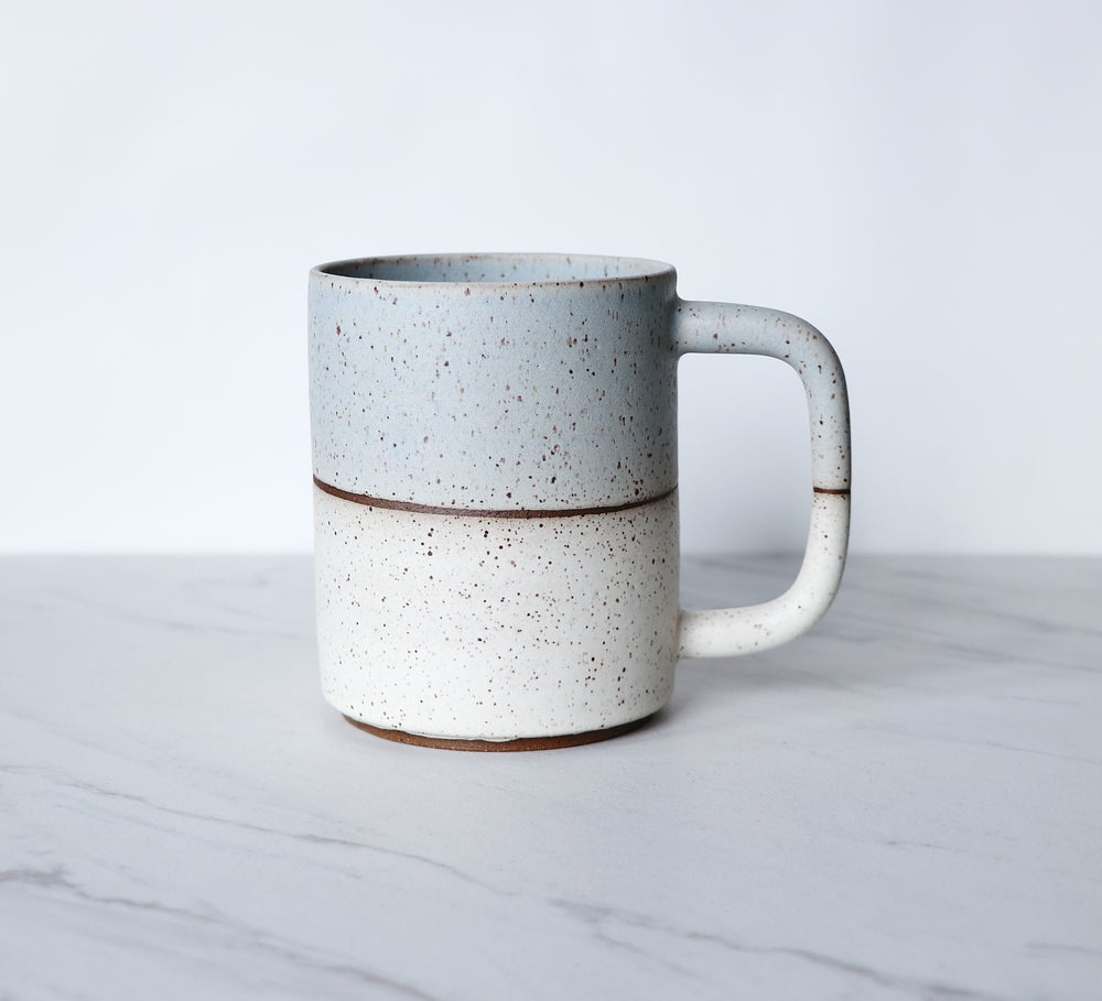 Image of Coffee mug, speckled clay, glazed in ice + cream