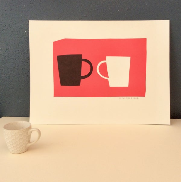 Image of Black Cup and White Cup on Pink