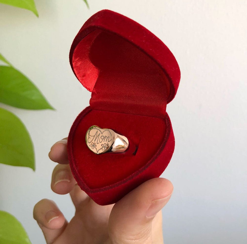 Image of 'MOM' HAND ENGRAVED HEART RING