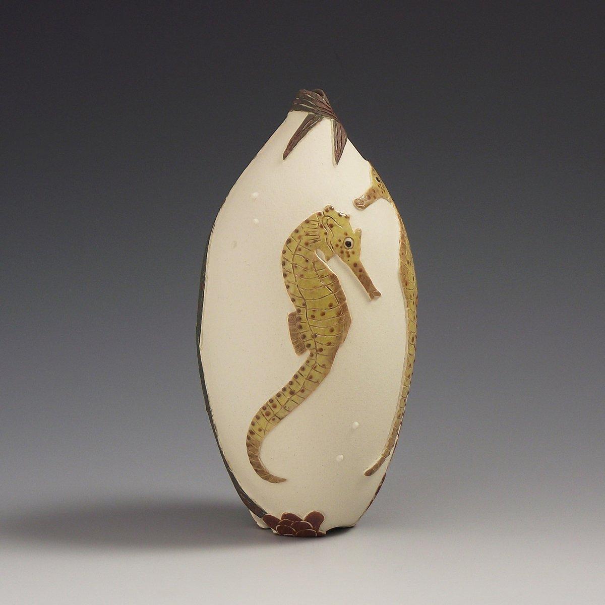 Seahorses sgraffito vessel