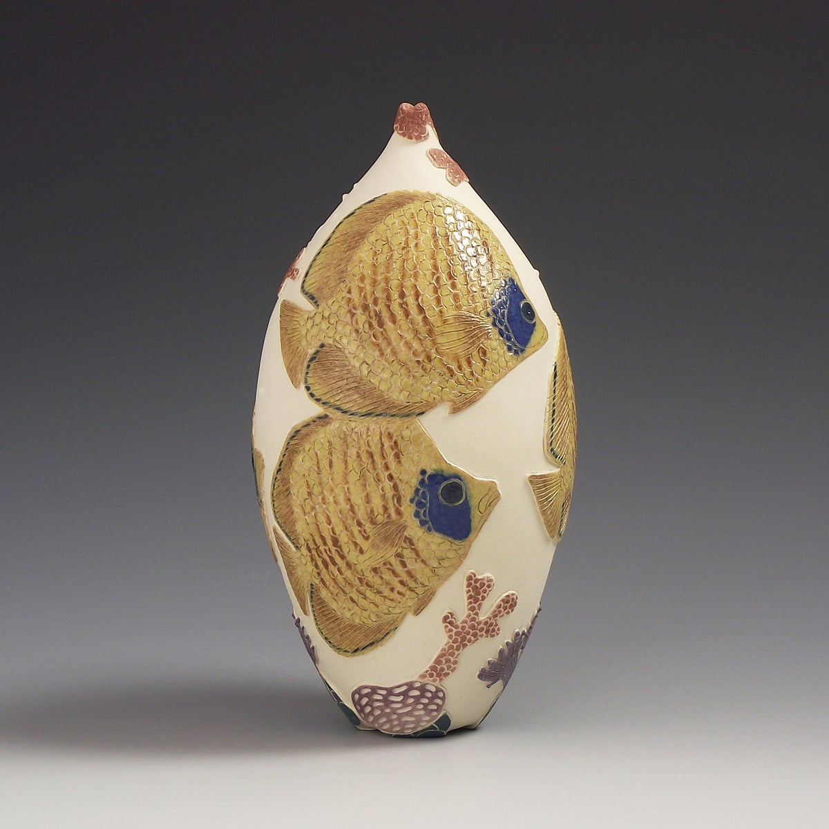 Butterfly fish sgraffito vessel