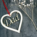 Father's Day Card - Dad Heart with woodcut keepsake