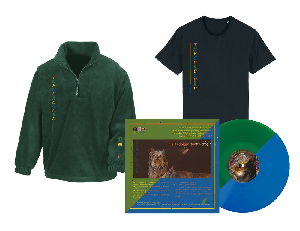 Image of {PRE-ORDER} - T-shirt + Fleece + DOUBLE EP vinyl (blue or green) // PACKAGE DEAL