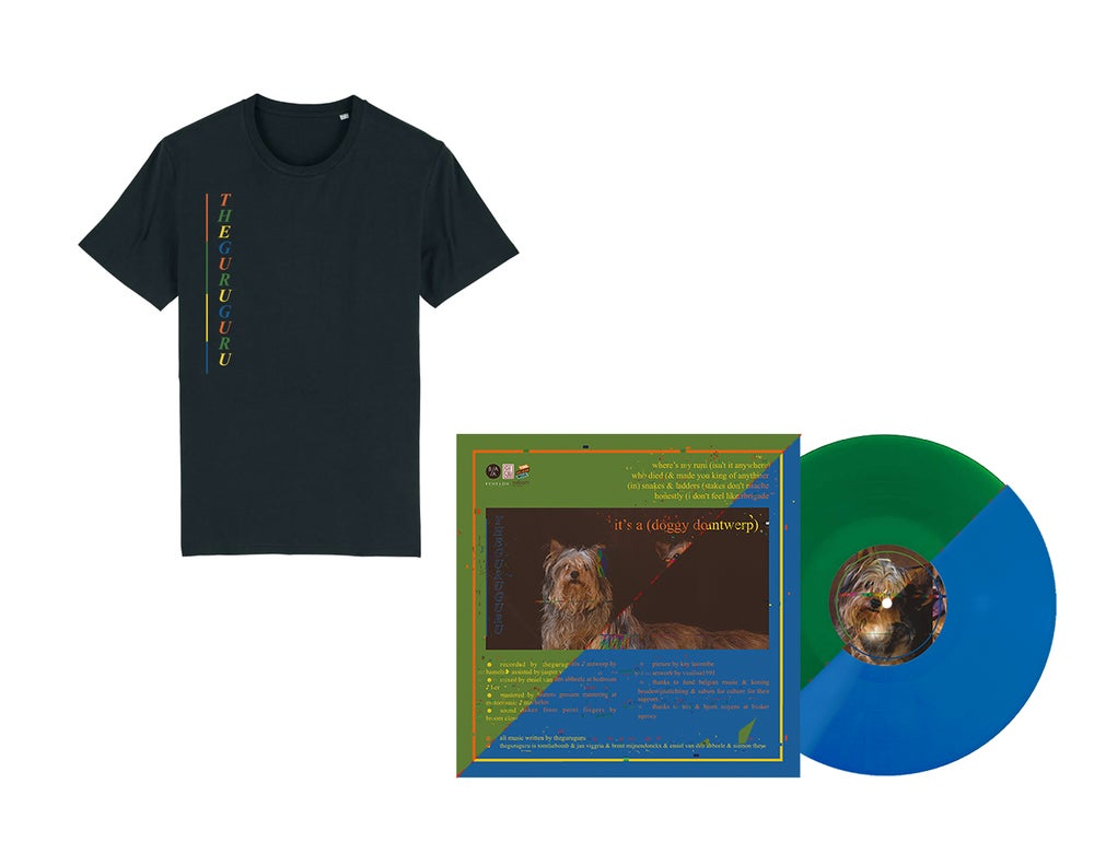 Image of {PRE-ORDER} - T-shirt + DOUBLE EP vinyl (blue or green) // PACKAGE DEAL