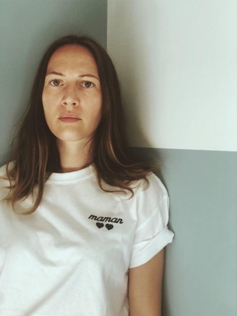 Image of Tee shirt bleu marine Maman coeurs