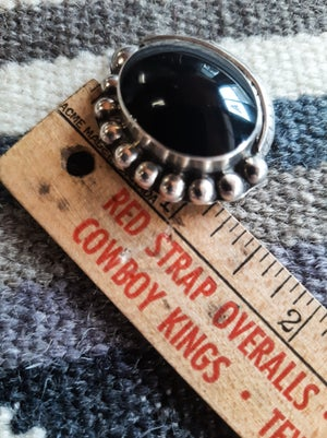 Image of Vintage Mexican silver & onix clip-on earnings