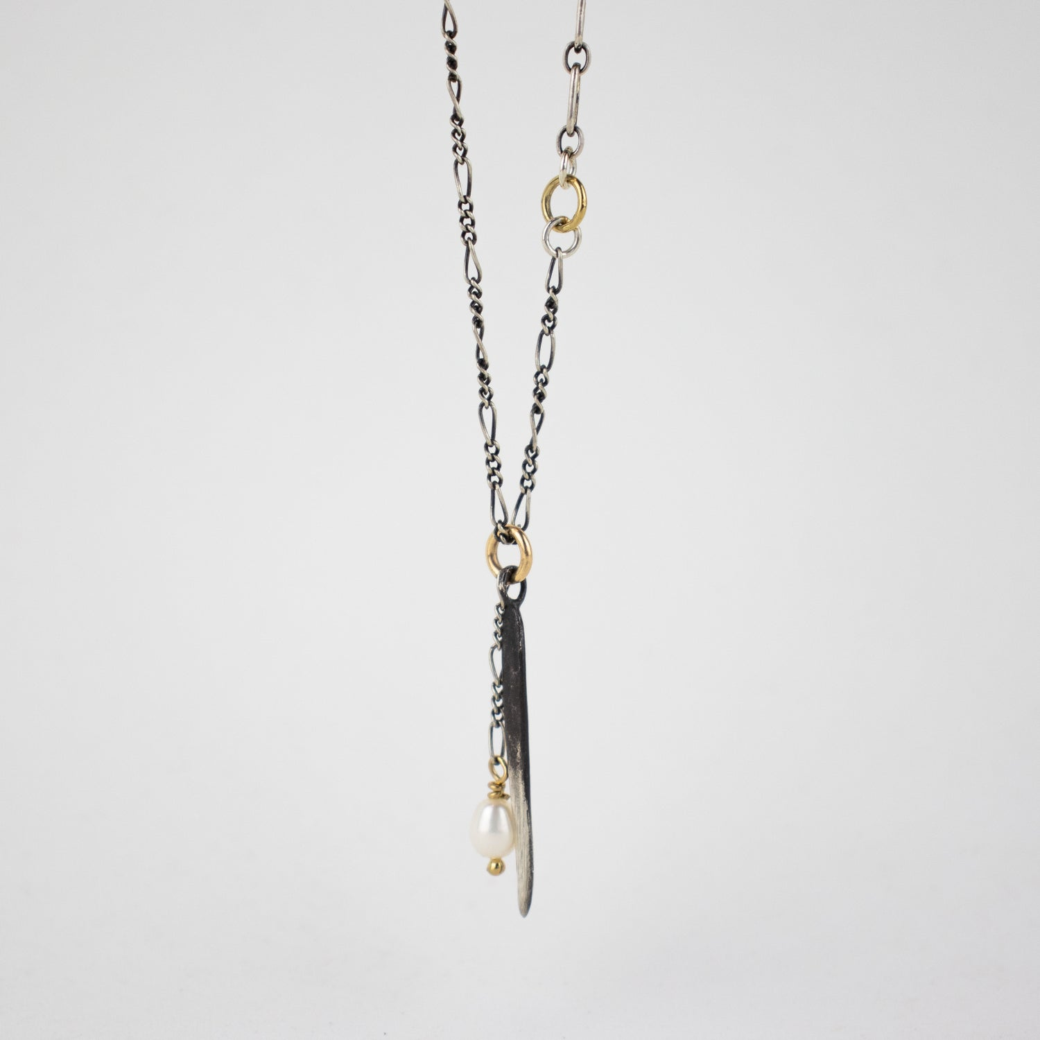 Image of Silver Spike & Pearl Mixed-Chain Necklace