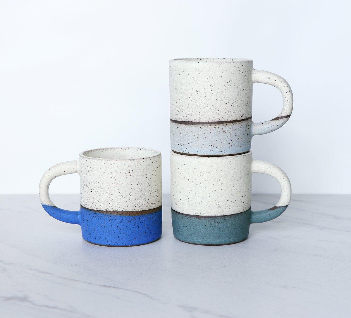 Image of Espresso, cortado cup with handle, speckled clay, two-tone glaze
