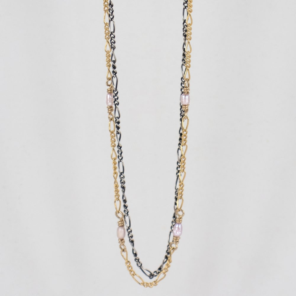 Image of Double Hand-Beaded Figaro Chain Necklace