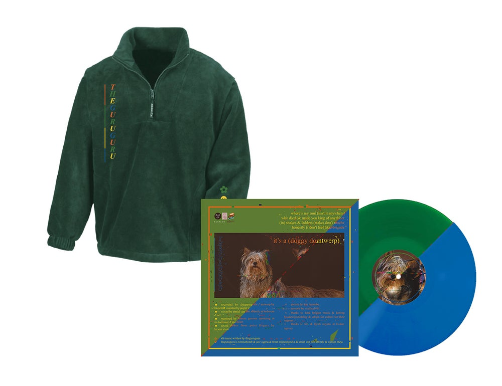 Image of {PRE-ORDER} - Fleece + DOUBLE EP vinyl (blue or green) // PACKAGE DEAL