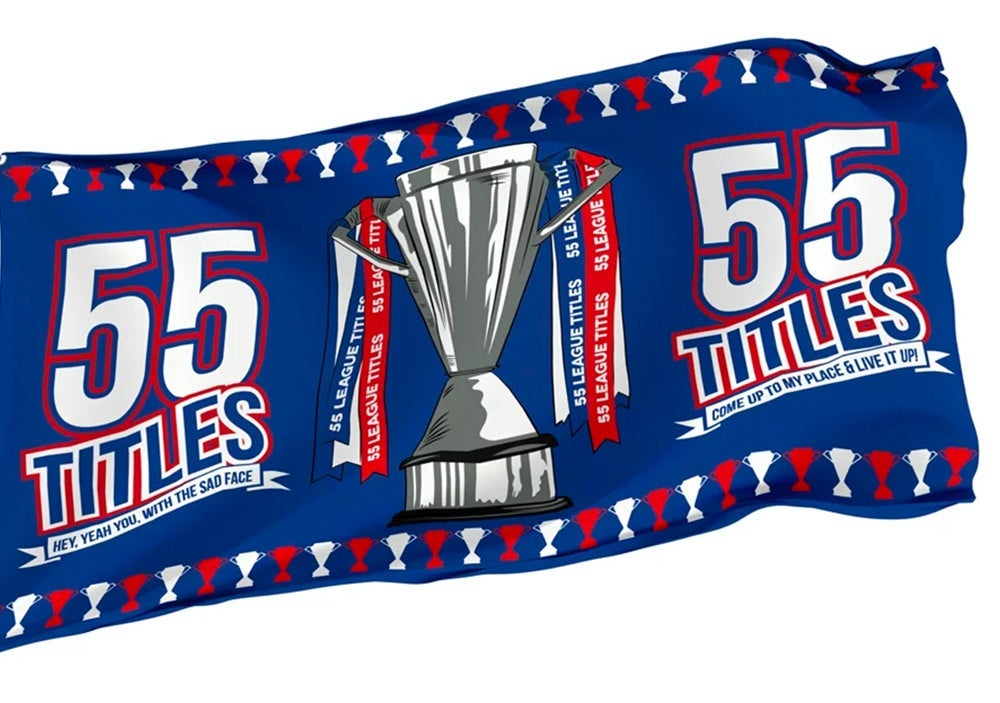 Image of 55 Titles Champions flag for Rangers fans.