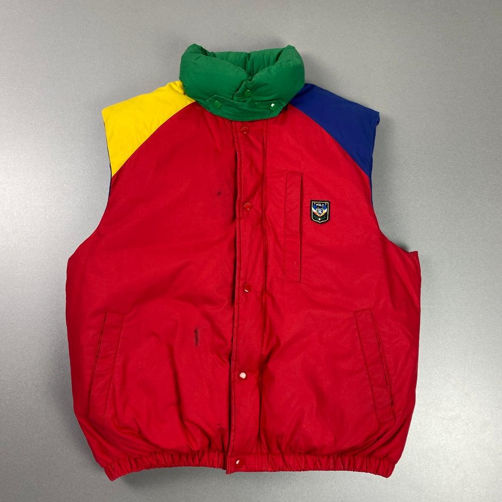 Image of OG Ralph Lauren Uni Crest down fill gilet, size medium