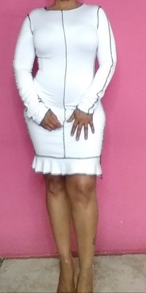 Image of WHITE BODYFIT DRESS BLACK STITCHED
