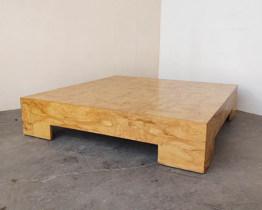 Image of Low Profile Burl Coffee Table by Milo Baughman