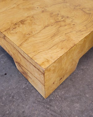 Low Profile Olive Burl Coffee Table by Milo Baughman