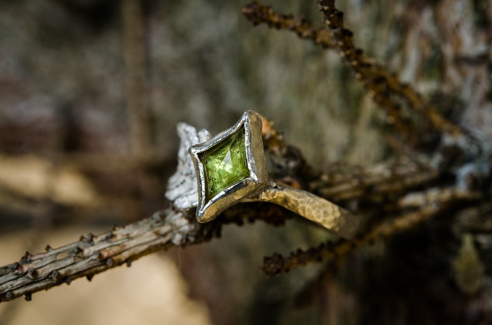 Image of oak leaf green sphene ring