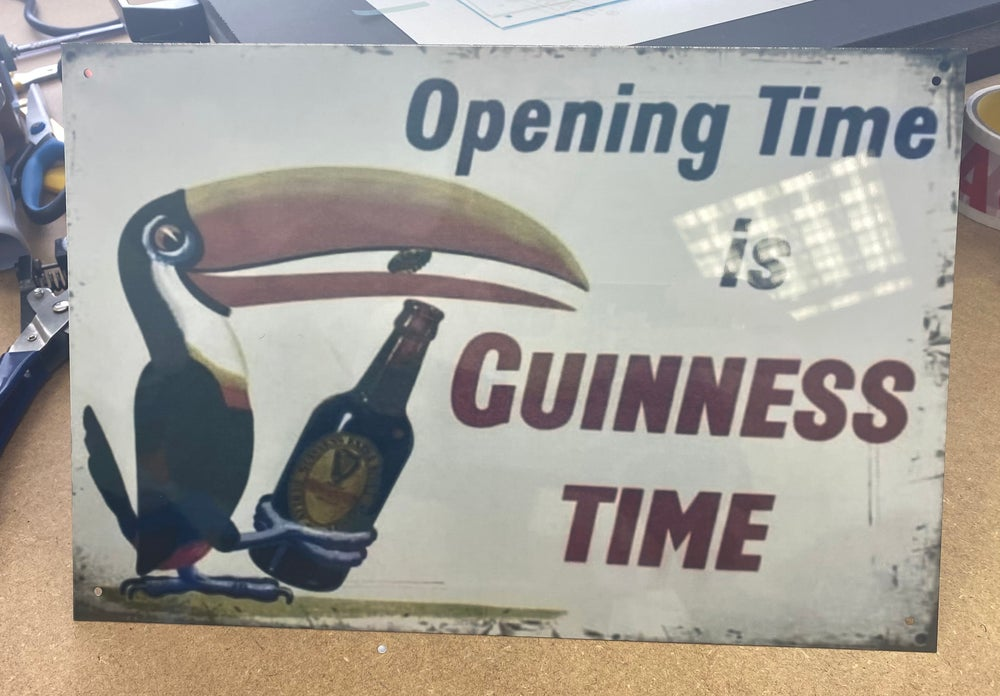 Opening time is Guinness time A4 Metal Sign
