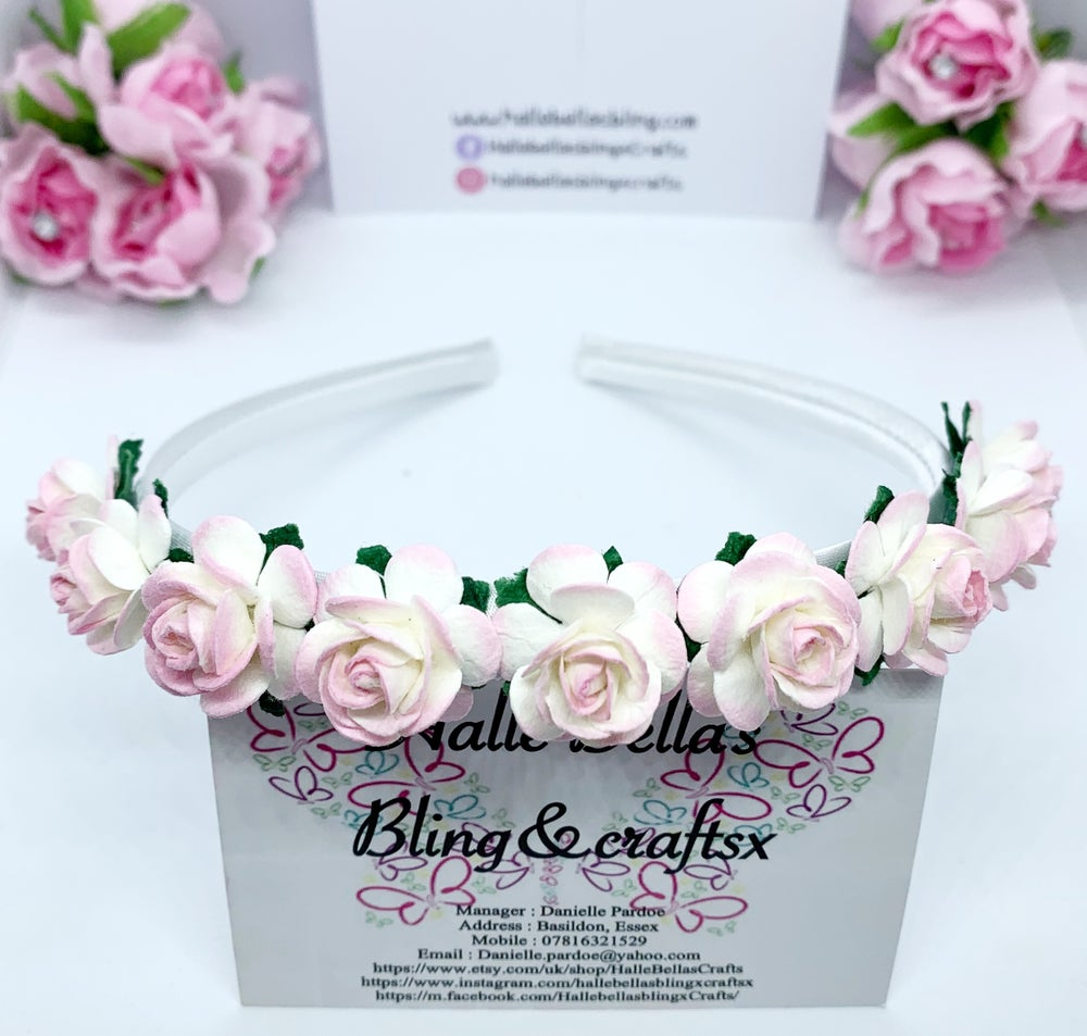 Image of Pink and white Boho flower crown