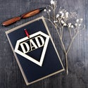 Diamond Dad - Father's Day card with a woodcut keepsake