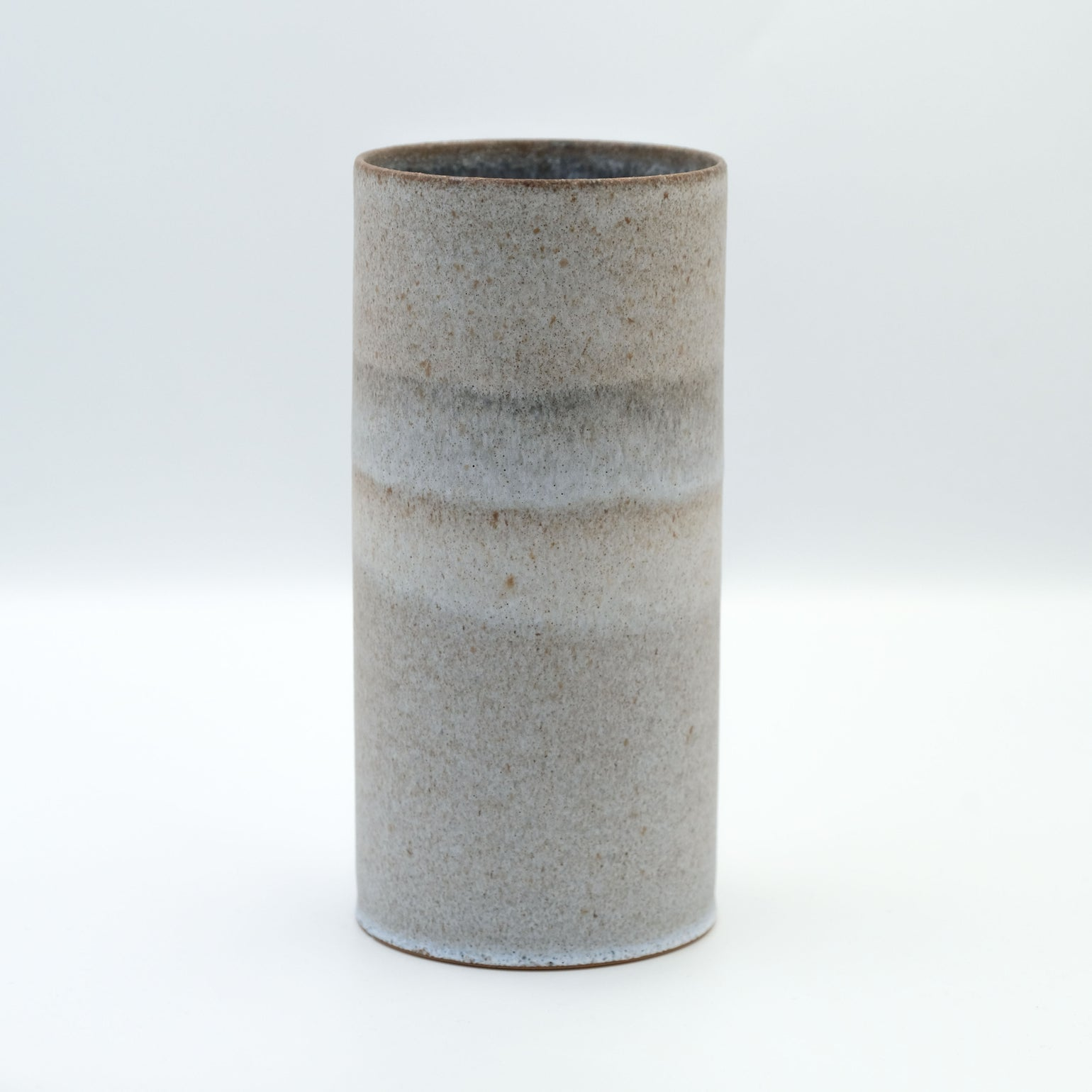 Image of LARGE CYLINDER IN YELLOW STONEWARE WITH LIGHT BLUE GLAZE