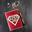 Super Dad - Fathers Day card with woodcut keepsake