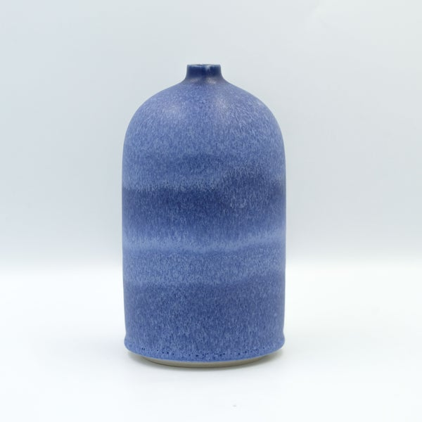 Image of UNIKA PEDESTAL BOTTLE IN INDIGO BLUE GLAZE 1