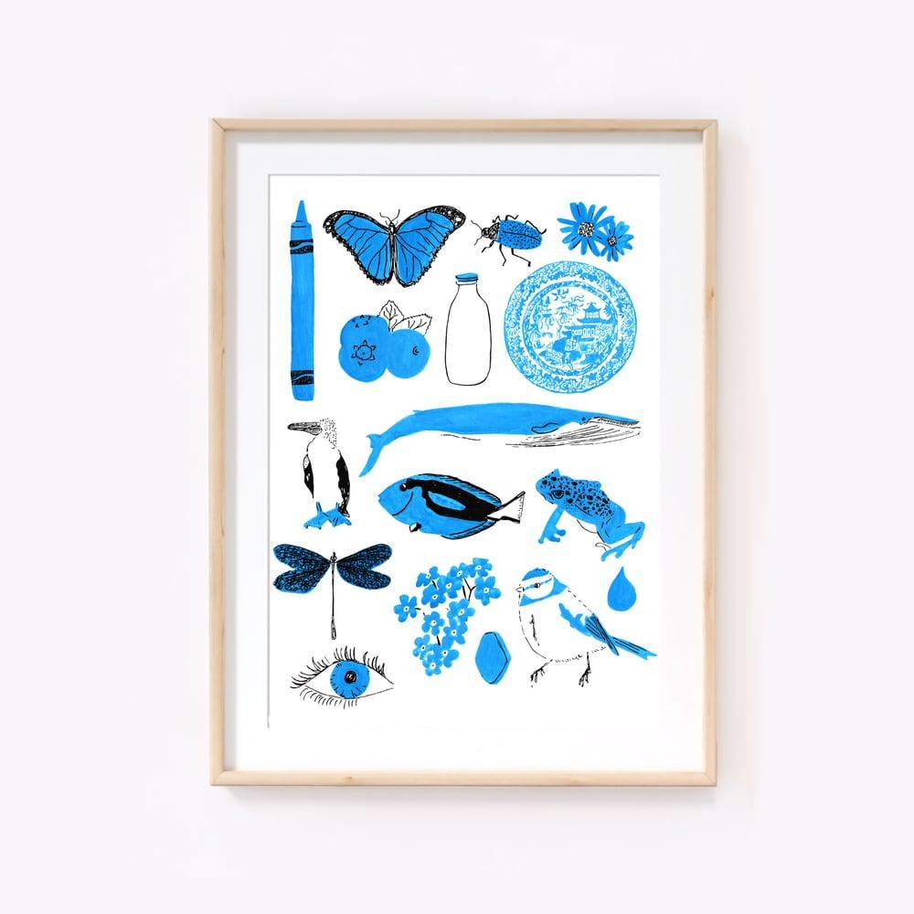 Image of Blue things print