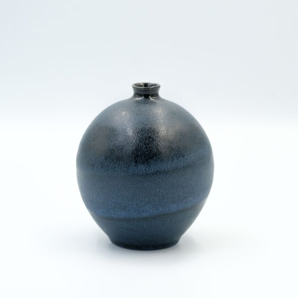 Image of SMALL BULB VASE IN MIDNIGHT BLUE GLAZE