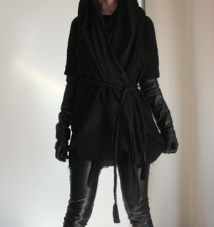 Image of MADE TO ORDER - HEAVY COTTON AND FAUXLEATHER VEILED CARDIGAN (Size XS-XL)