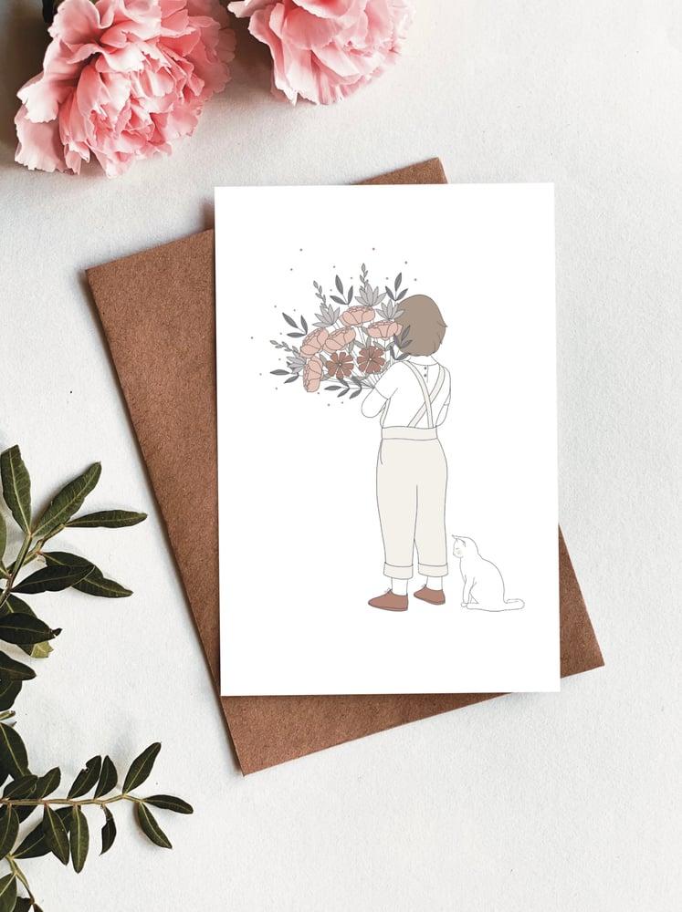 Image of Carte Enfant au bouquet