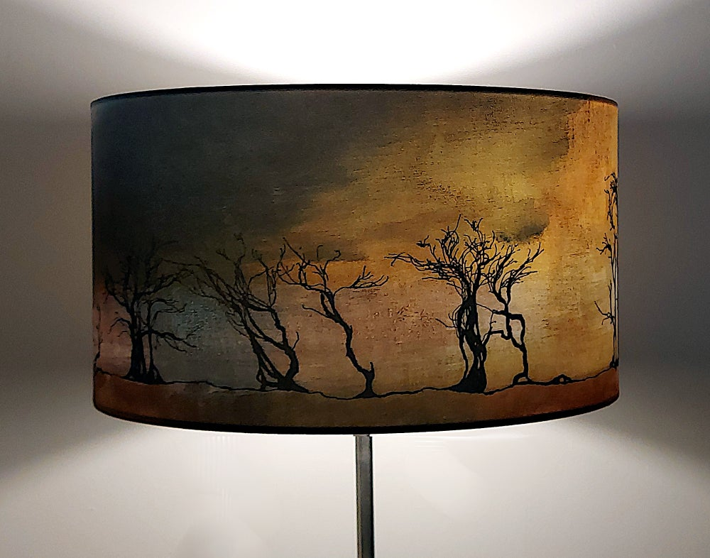 Image of Hawthorns Drum Lampshade by Lily Greenwood (45cm, Standard/Floor Lamp or Ceiling)